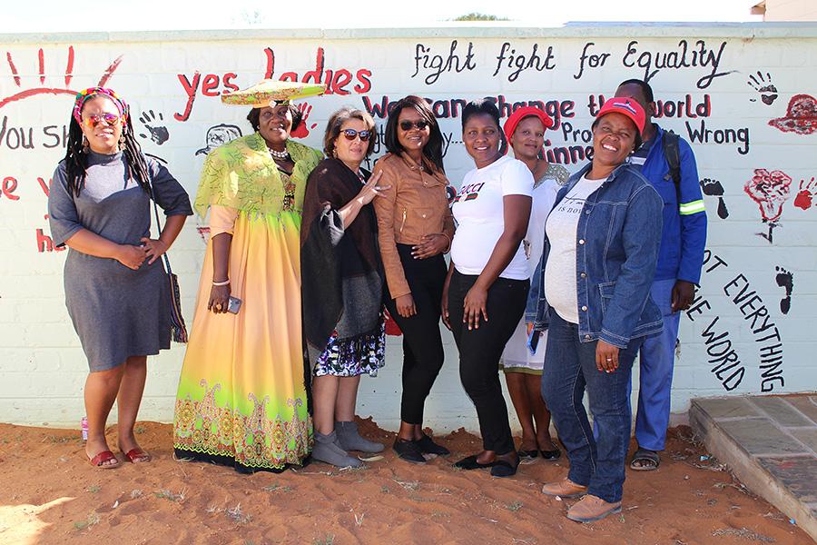 ACTION facilitator Natasha Tibinyane with members of the Okahandja Municipality's Management Committee after an informative meeting