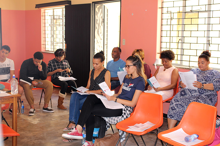 Youth in Rehoboth reading more about ACTION and ATI during the ATI youth workshop on 11 May 2018